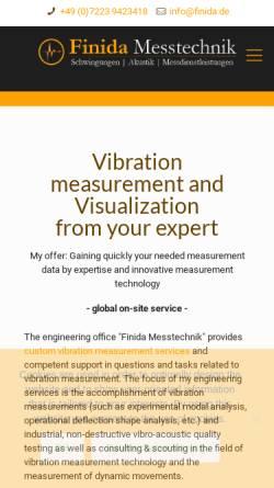 Vorschau der mobilen Webseite www.finida.de, Finida Messtechnik