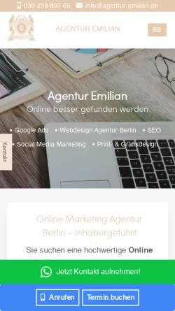 Vorschau der mobilen Webseite www.agentur-emilian.de, Agentur Emilian