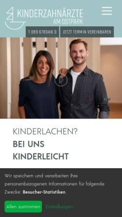 Vorschau der mobilen Webseite www.muenchen-kinderzahnarzt.de, Kinderzahnärzte am Ostpark MVZ GmbH