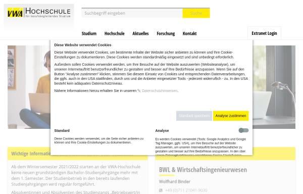 Vorschau von www.vwa-hochschule.de, VWA-Hochschule GmbH