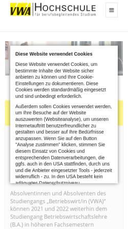 Vorschau der mobilen Webseite www.vwa-hochschule.de, VWA-Hochschule GmbH
