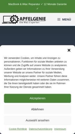 Vorschau der mobilen Webseite apfelgenie.de, apfelgenie - MacBook Reparaturen