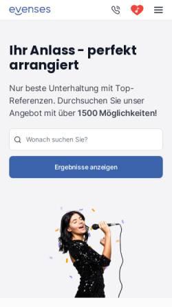 Vorschau der mobilen Webseite www.evenses.de, Evenses Entertainment