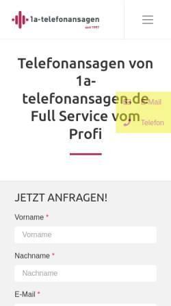 Vorschau der mobilen Webseite www.1a-telefonansagen.de, Carpe Diem Studios GmbH