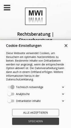 Vorschau der mobilen Webseite www.mwi-rs.de, MWI Rechtsberatung/Steuerberatung