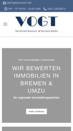 Vorschau der mobilen Webseite ingvogt.de, VOGT Sachverständigen- & Ingenieurbüro
