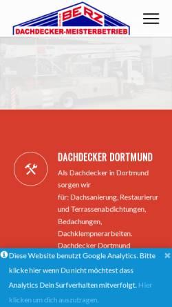 Vorschau der mobilen Webseite dachdecker-berz.de, Dachdecker Meisterbetrieb Berz