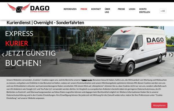 Vorschau von dagoexpress.de, Dago Express Kurierdienst