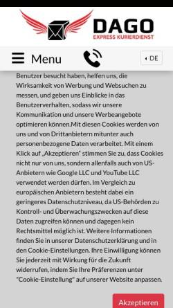Vorschau der mobilen Webseite dagoexpress.de, Dago Express Kurierdienst