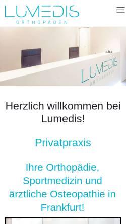 Vorschau der mobilen Webseite www.lumedis.de, Lumedis - Praxis für Orthopädie