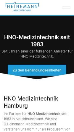 Vorschau der mobilen Webseite www.heinemann-ent.de, Heinemann Medizintechnik GmbH