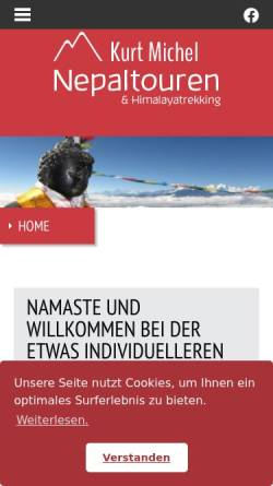 Vorschau der mobilen Webseite www.nepaltour.de, Kurt Michels Nepaltouren