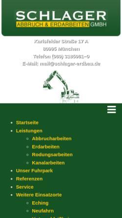Vorschau der mobilen Webseite www.schlager-erdbau.de, Schlager Abbruch & Erdarbeiten GmbH