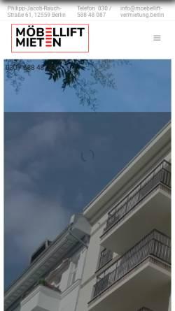 Vorschau der mobilen Webseite www.moebellift-vermietung.berlin, Möbelliftvermietung
