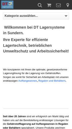 Vorschau der mobilen Webseite www.dt-lagersysteme.de, DT Lagersysteme