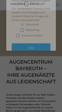Vorschau der mobilen Webseite www.augencentrum-bayreuth.de, AugenCentrum Bayreuth