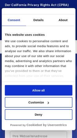 Vorschau der mobilen Webseite www.cookiebot.com, Cookiebot