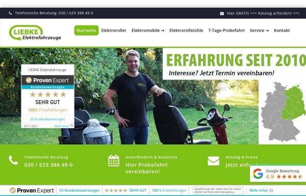 Vorschau von www.liebke-elektrofahrzeuge.de, LIEBKE Elektrofahrzeuge