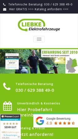 Vorschau der mobilen Webseite www.liebke-elektrofahrzeuge.de, LIEBKE Elektrofahrzeuge