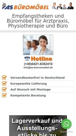 Vorschau der mobilen Webseite www.as-bueromoebel.de, As Büromöbel GmbH