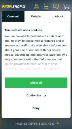 Vorschau der mobilen Webseite www.profishop.de, PROFISHOP GmbH