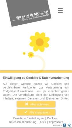 Vorschau der mobilen Webseite www.braun-mueller.de, Braun & Müller Druck- und Medienproduktions-GmbH