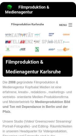 Vorschau der mobilen Webseite kopfsalat-medien.de, Kopfsalat Medien