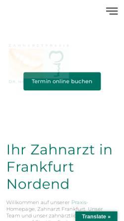 Vorschau der mobilen Webseite nordend-zahnarzt.de, Dr. Hakimi und Kollegen