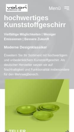 Vorschau der mobilen Webseite www.valon-shop.de, SE-Kunststoffverarbeitung GmbH & Co. KG