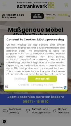 Vorschau der mobilen Webseite www.schrankwerk.de, schrankwerk Dickmänken GmbH