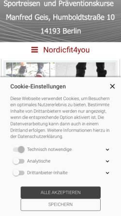 Vorschau der mobilen Webseite www.nordicfit4you.de, Nordicfit4you