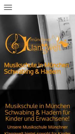 Vorschau der mobilen Webseite www.musikschule-muenchner-klangwelt.de, Musikschule München Schwabing