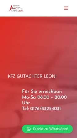 Vorschau der mobilen Webseite kfz-gutachter-leoni.de, André Leoni