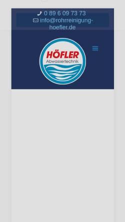 Vorschau der mobilen Webseite www.rohrreinigung-hoefler.de, Höfler GmbH