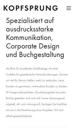 Vorschau der mobilen Webseite kopfsprung.de, KOPFSPRUNG - Buchgestaltung aus Köln