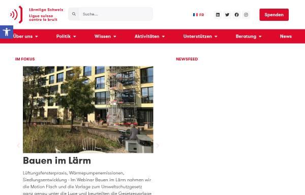 Vorschau von www.laermliga.ch, Schweizerische Liga gegen den Lärm