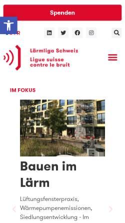 Vorschau der mobilen Webseite www.laermliga.ch, Schweizerische Liga gegen den Lärm