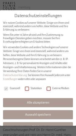 Vorschau der mobilen Webseite praxisklinik-colonnaden.de, Praxisklinik Colonnaden