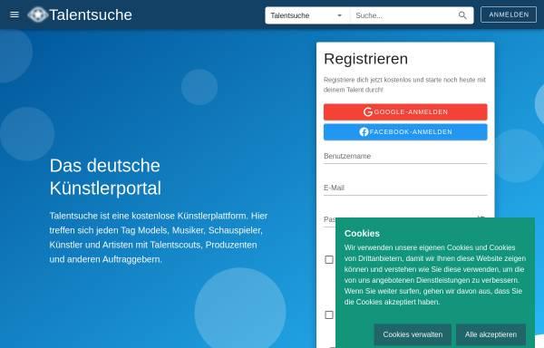 Vorschau von www.talentsuche.de, Talentsuche Künstlerportal GmbH