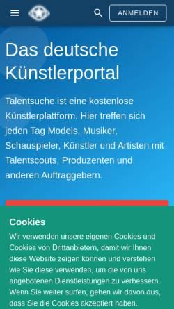 Vorschau der mobilen Webseite www.talentsuche.de, Talentsuche Künstlerportal GmbH