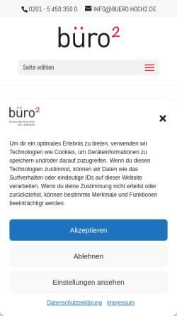 Vorschau der mobilen Webseite www.buero-hoch2.de, buero-hoch2.de Büromöbel GmbH