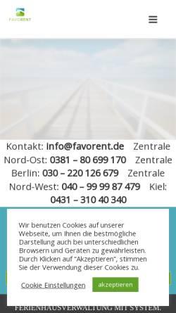 Vorschau der mobilen Webseite vermieter.favorent.de, Favorent