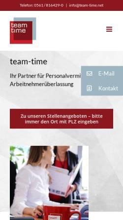 Vorschau der mobilen Webseite team-time.net, team-time GmbH