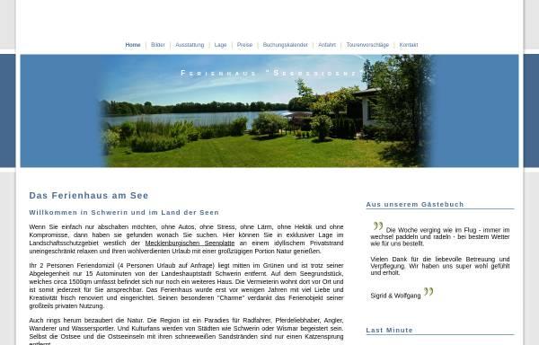 Vorschau von www.seeferienhaus.de, Ferienhaus SEERESIDENZ