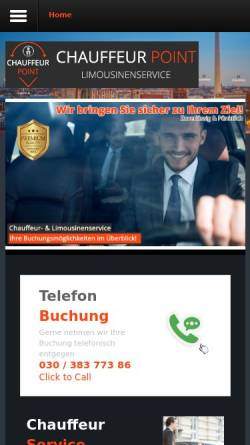 Vorschau der mobilen Webseite www.chauffeur-point.de, Chauffeurservice in Berlin