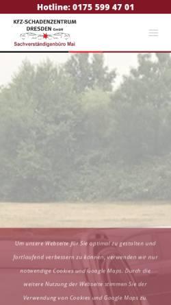 Vorschau der mobilen Webseite www.kfz-schadenzentrum.com, KFZ-SCHADENZENTRUM DRESDEN GmbH