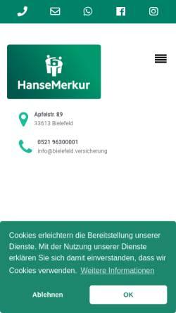 Vorschau der mobilen Webseite bielefeld.versicherung, HanseMerkur Bielefeld