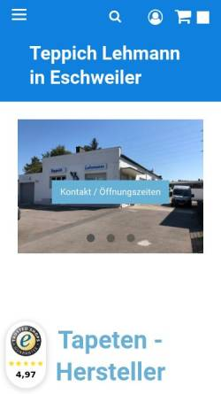 Vorschau der mobilen Webseite www.unser-farbenparadies-shop.de, Teppich Lehmann