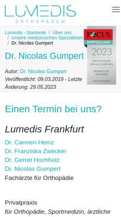 Vorschau der mobilen Webseite www.lumedis.de, Dr. Nicolas Gumpert