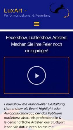Vorschau der mobilen Webseite artistik-feuershow.de, LuxArt